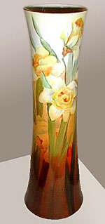 Painted Vase with Daffodil Design