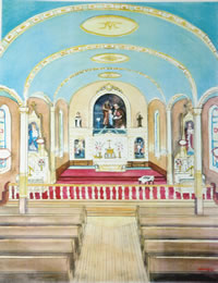 Robert Amos Art Cards Chapel Interior