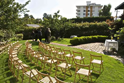Novitiate Garden set up with St. Ann's folding chairs - photo courtesy Art Studio 21