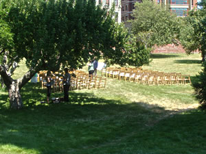 Orchard ceremony set up by Sweet Beginnings